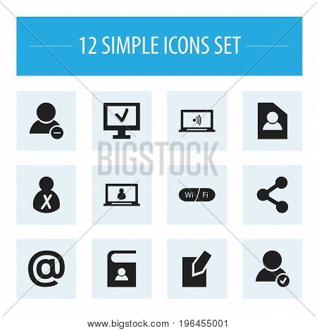 Set Of 12 Editable Web Icons. Includes Symbols Such As Edit File, Computer, Wifi And More