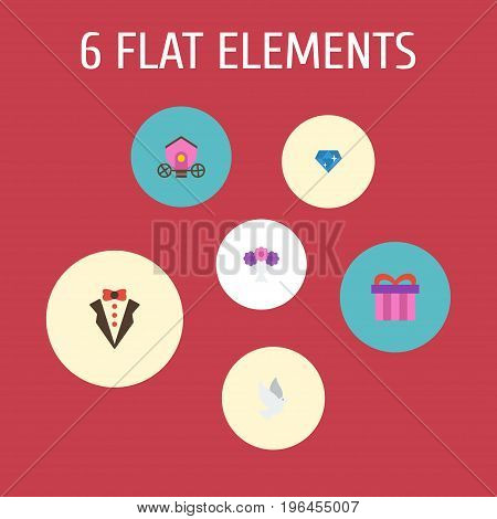 Flat Icons Posy, Pigeon, Chariot And Other Vector Elements