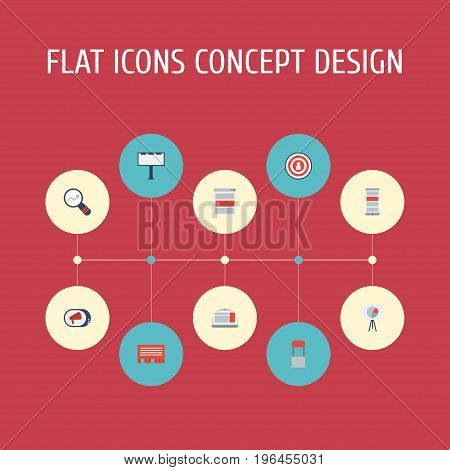 Flat Icons Application, Advertising, Market And Other Vector Elements