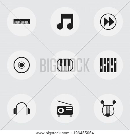 Set Of 9 Editable Media Icons. Includes Symbols Such As Musical Instrument, Media Fm, Musical Symbol And More