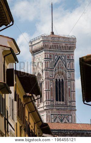 Tower Of Cattedrale Di Santa Maria Del Fiore Seen From Piazza Della Santissima Annunziata