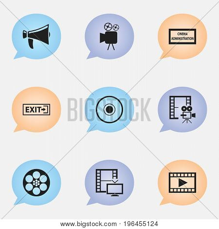 Set Of 9 Editable Filming Icons. Includes Symbols Such As Television, Video, Cinematography And More