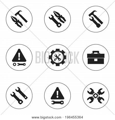 Set Of 9 Editable Tool Icons. Includes Symbols Such As Instrument, Pliers Hammer, Screwdriver Wrench And More