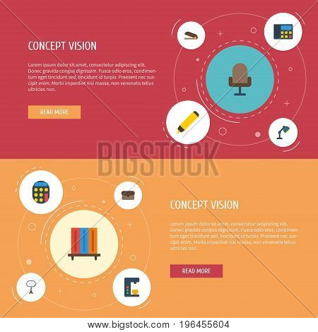 Flat Icons Desk Light, Calculate, Puncher And Other Vector Elements