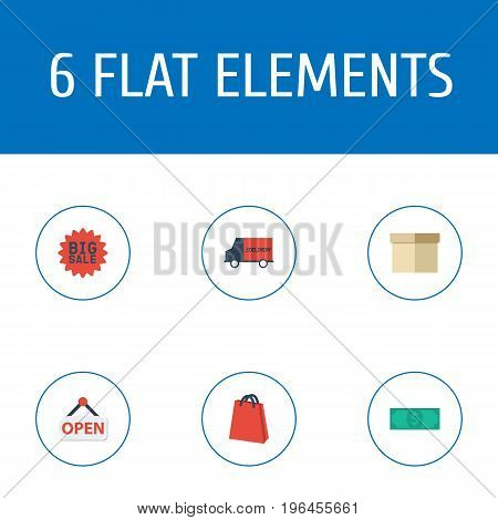 Flat Icons Pouch, Bus, Cash And Other Vector Elements