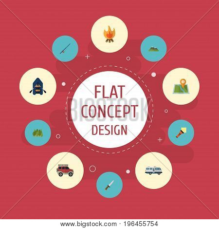 Flat Icons Suv, Wood, Hunting Cutter And Other Vector Elements