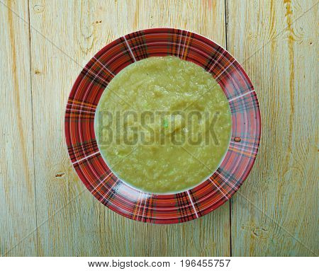 Welsh Leek Soup. British Food. close up meal