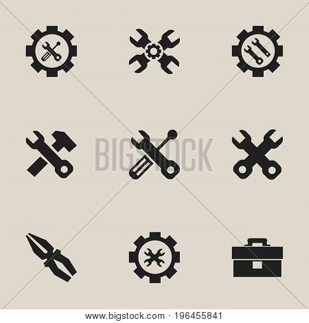 Set Of 9 Editable Toolkit Icons. Includes Symbols Such As Options, Settings, Screwdriver Wrench And More