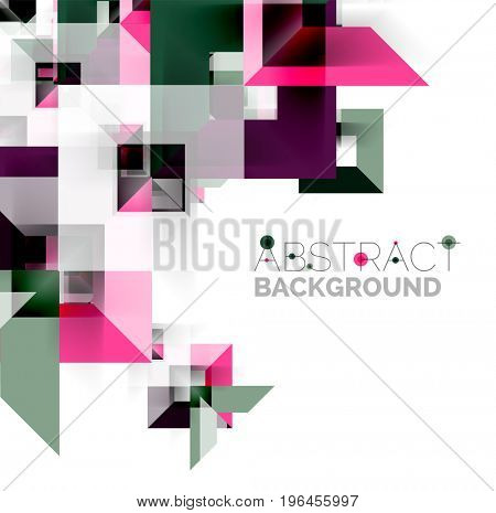 Modern square geometric pattern design on white. Business or technology presentation design template, brochure or flyer pattern, or geometric web banner