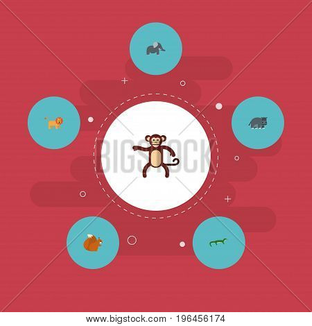 Flat Icons Chimpanzee, Hippopotamus, Reptile And Other Vector Elements