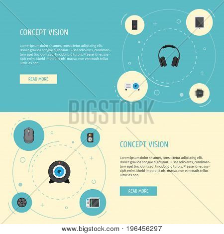 Flat Icons Presentation, Amplifier, Earphones And Other Vector Elements