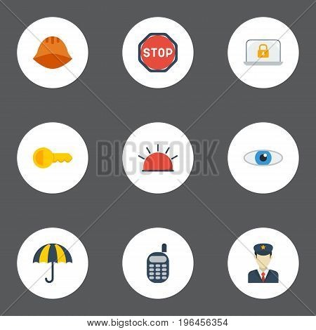 Flat Icons Road Sign, Policeman, Vision And Other Vector Elements