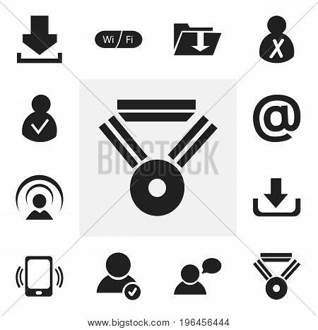 Set Of 12 Editable Global Icons. Includes Symbols Such As Connection, Dossier, Thinking Man And More
