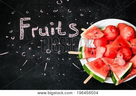 Watermelon On Black Background