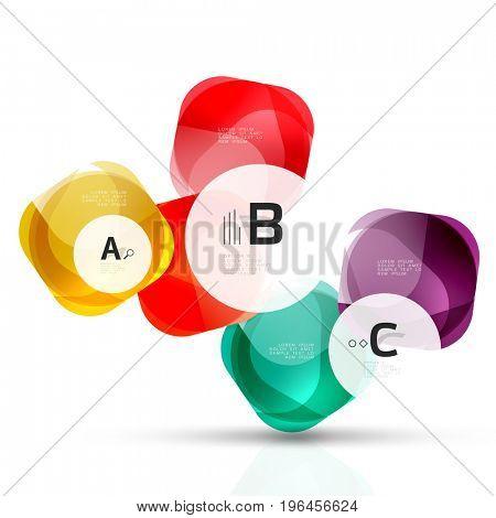shiny blank web option boxes. Geometric elements suitable for text, infographics or navigation UI menu