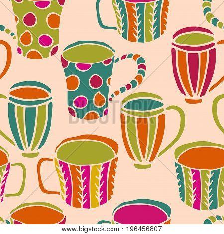 Cute tea cup seamless pattern. Doodle tea time background. Vector illustration.