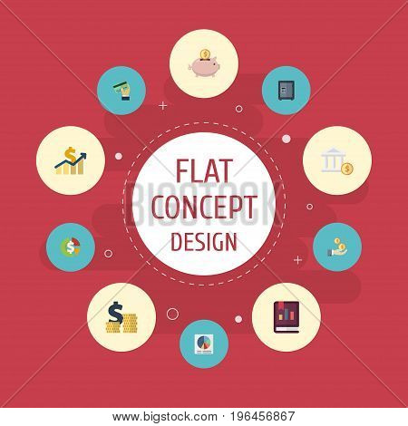 Flat Icons Bank, Stock, Pie Bar And Other Vector Elements