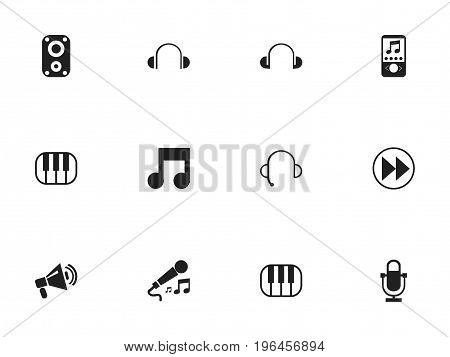 Set Of 12 Editable Audio Icons. Includes Symbols Such As Headsets, Karaoke, Synthesizer And More