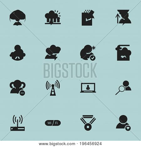 Set Of 16 Editable Web Icons. Includes Symbols Such As Edit File, Magnifier, Telephone Directory And More