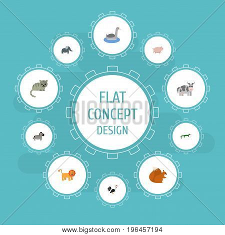 Flat Icons Waterbird, Trunked Animal, Horse And Other Vector Elements