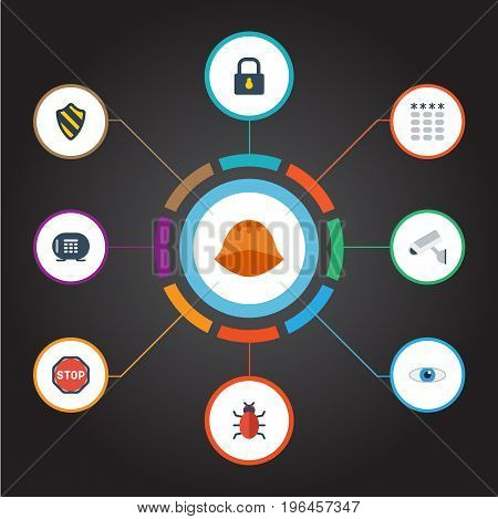 Flat Icons Padlock, Vision, Keypad And Other Vector Elements