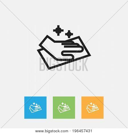 Vector Illustration Of Cleanup Symbol On Towel Outline
