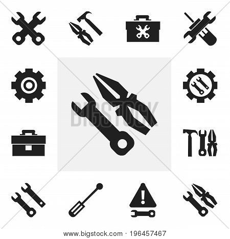 Set Of 12 Editable Repair Icons. Includes Symbols Such As Maintenance, Portfolio, Screwdriver And More