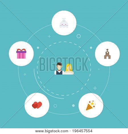 Flat Icons Building, Present, Sparkler And Other Vector Elements
