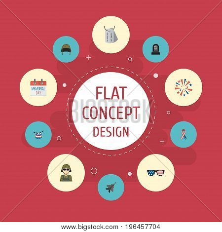 Flat Icons Tomb, History, Awareness And Other Vector Elements