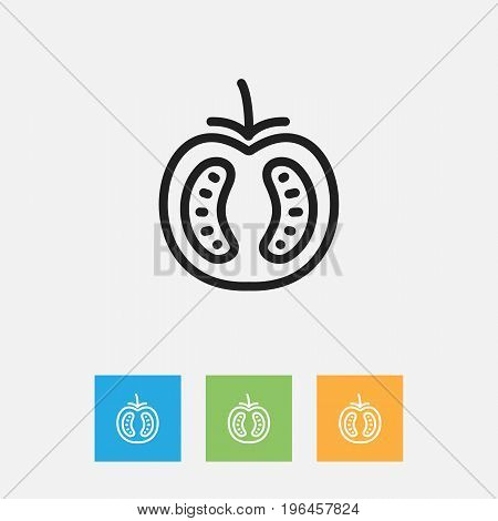 Vector Illustration Of Cooking Symbol On Half Tomato Outline