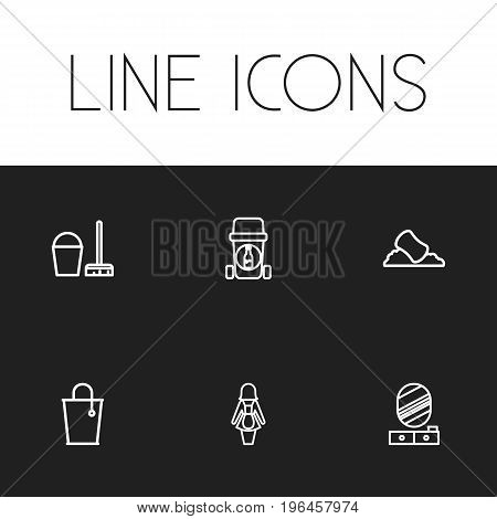 Set Of 6 Editable Cleaning Outline Icons. Includes Symbols Such As Hotel Staff, Bottle Recycling, Pier Glass And More