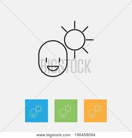 Vector Illustration Of Climate Symbol On Man Under Solar Outline
