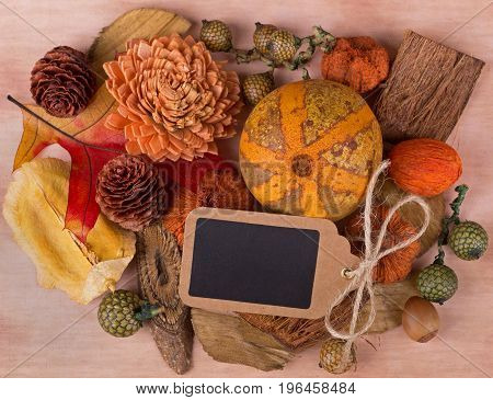 Colorful autumn objects on vintage paper background with blank tag copy space