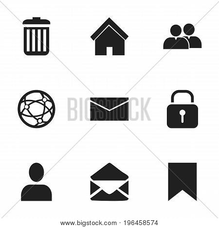 Set Of 9 Editable Web Icons. Includes Symbols Such As Letter, Home, Group And More
