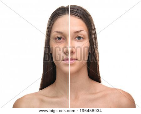 Young woman before and after exhaustion caused by sleep deprivation on white background