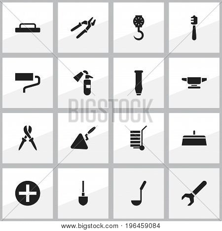 Set Of 16 Editable Apparatus Icons. Includes Symbols Such As Spade, Scoop, Screw Wrench And More