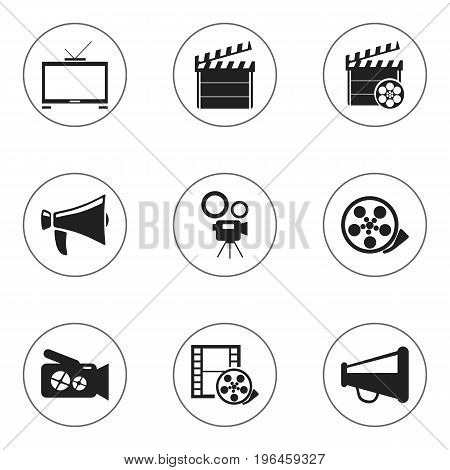 Set Of 9 Editable Cinema Icons. Includes Symbols Such As Clapper, Hd Television, Tape And More