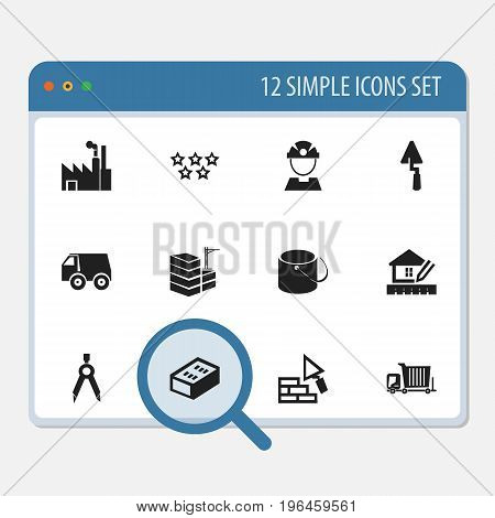 Set Of 12 Editable Construction Icons. Includes Symbols Such As Divider, Lorry, Trowel And More