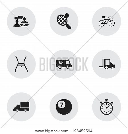 Set Of 9 Editable Mixed Icons. Includes Symbols Such As Police Vehicle, Dialogue, Racket And More
