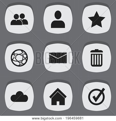 Set Of 9 Editable Internet Icons. Includes Symbols Such As Sky, Bookmark, Recycle Bin And More