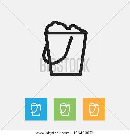 Vector Illustration Of Cleaning Symbol On Pail Outline