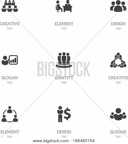 Set Of 9 Editable Business Icons. Includes Symbols Such As Introducing, Group, Member And More
