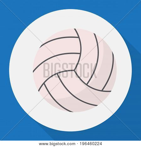 Vector Illustration Of Healthy Symbol On Volleyball Flat Icon