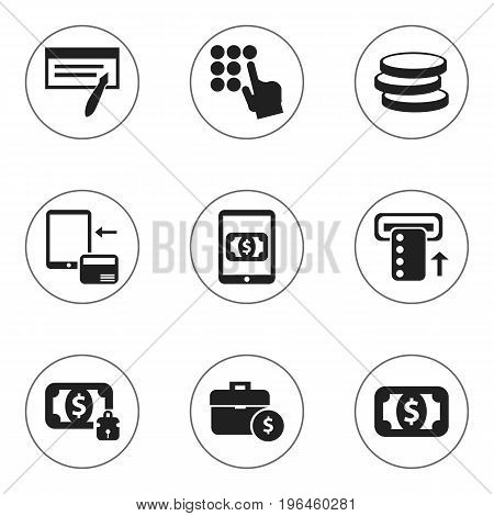 Set Of 9 Editable Financial Icons. Includes Symbols Such As Handbag, E-Commerce, Money-Guard