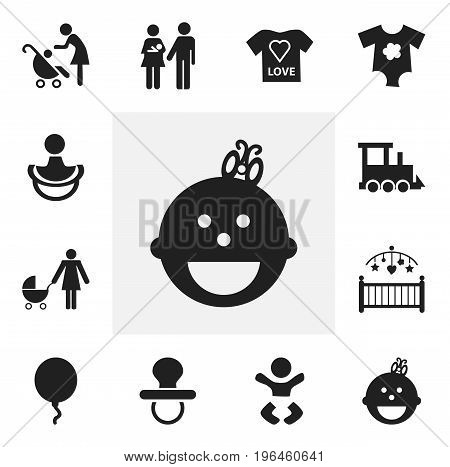 Set Of 12 Editable Kid Icons. Includes Symbols Such As Small Dresses, Woman With Baby, Nipple And More