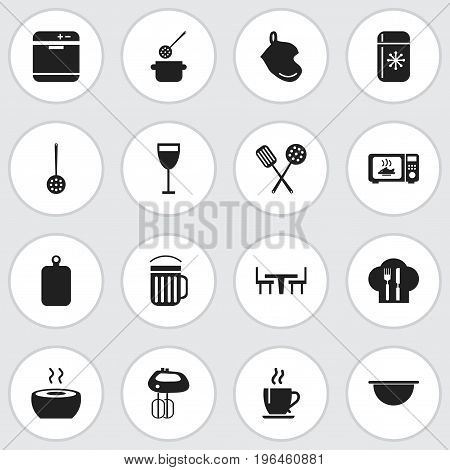 Set Of 16 Editable Kitchen Icons. Includes Symbols Such As Stove, Strainer, Food And More