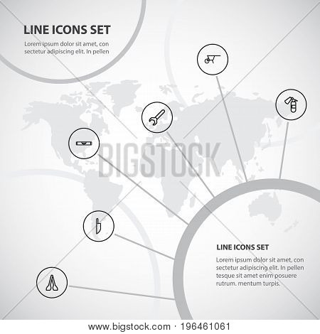 Set Of 6 Editable Tools Outline Icons. Includes Symbols Such As Balance, Tongs, Spanner And More
