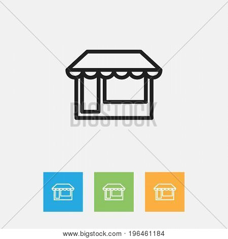 Vector Illustration Of Business Symbol On Grocery Outline