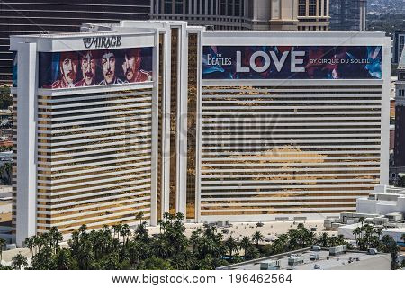 Las Vegas - Circa July 2017: Aerial view of The Mirage Hotel and Casino. The Mirage is the home of The Beatles: LOVE Cirque du Soleil show I