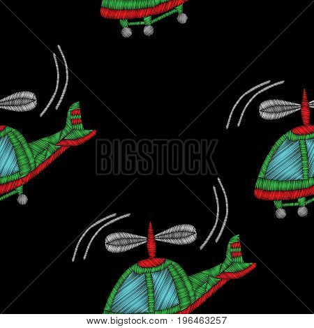 Embroidery stitches imitation seamless pattern with helicopter. Vector embroidery traditional helicopter on black background.